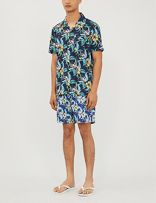 FAR AFIELD Tropical-print short-sleeved linen shirt