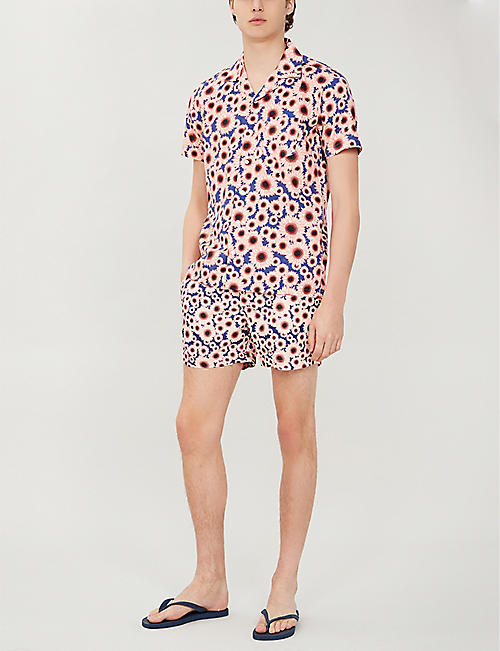 FAR AFIELD Sunflower-print regular-fit cotton-poplin shirt