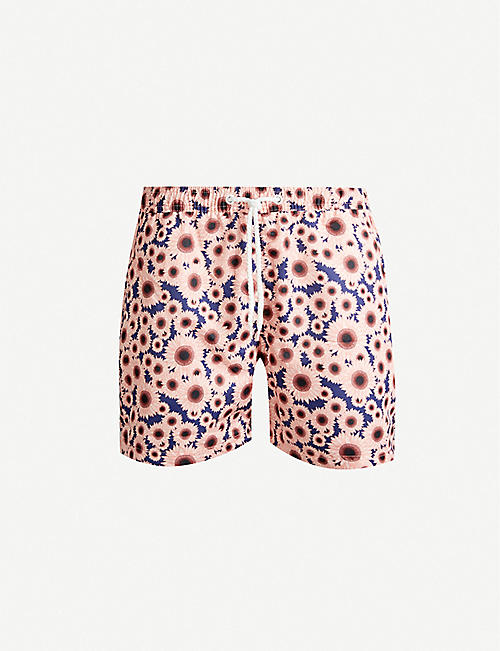 FAR AFIELD Sunflower-print relaxed-fit swim shorts