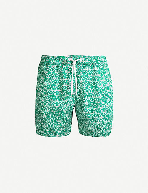 FAR AFIELD Graphic-print relaxed-fit swim shorts