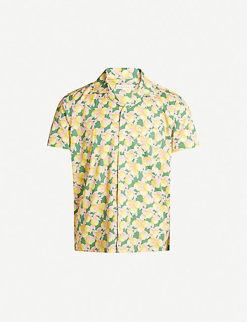 FAR AFIELD Lemon-print regular-fit cotton-poplin shirt