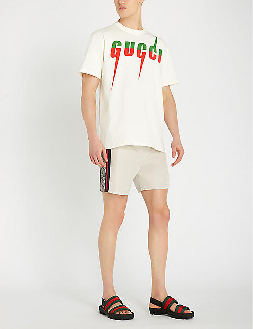 GUCCI Logo-tape relaxed-fit swim shorts