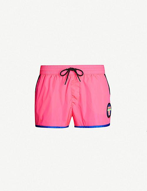 bcebac90dd VERSACE Contrast-trim logo-patch high-rise shell swim shorts