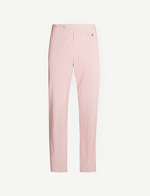 HEMINGSWORTH Striped straight seersucker trousers