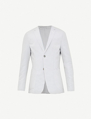 HEMINGSWORTH Striped slim-fit cotton-blend jacket