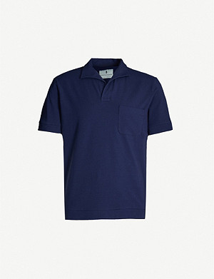 HEMINGSWORTH Open-collar stretch-cotton polo shirt