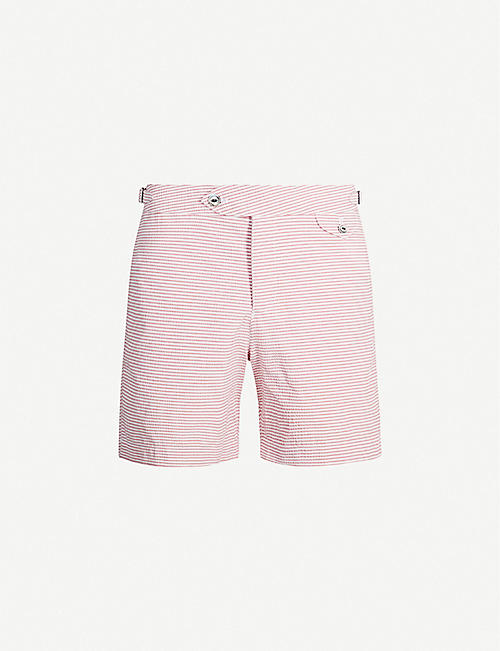 HEMINGSWORTH Clipper seersucker swim shorts