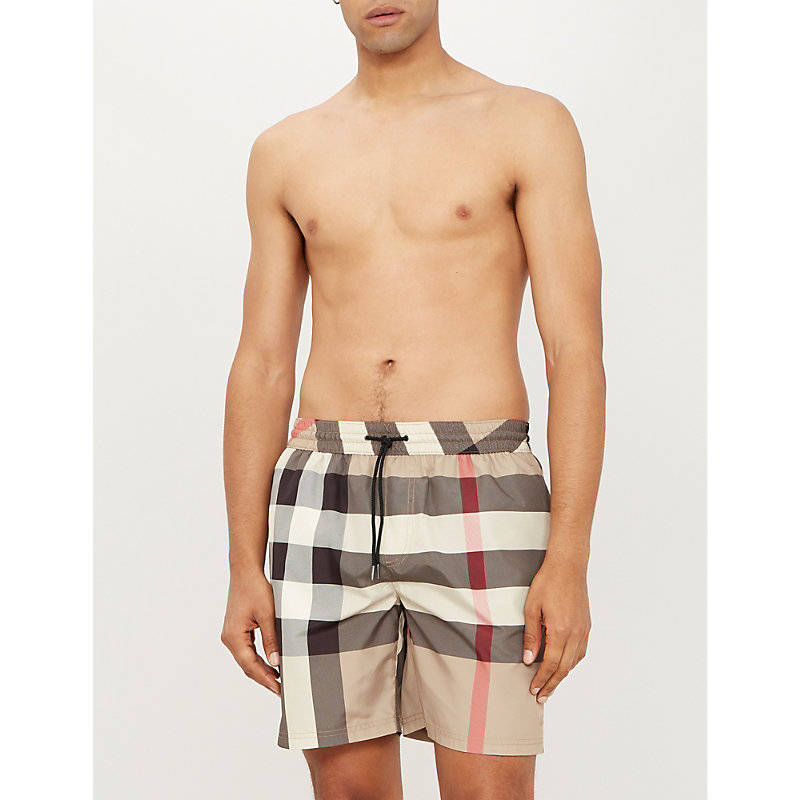 Burberry Beachwear ARCHIVE BEIGE CHECKED SWIM SHORTS
