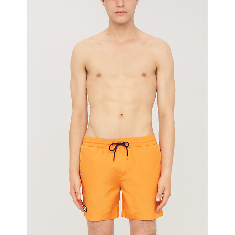 7aa65d3c82 Burberry Relaxed-Fit Logo-Patch Swim Shorts In Bright Orange ...
