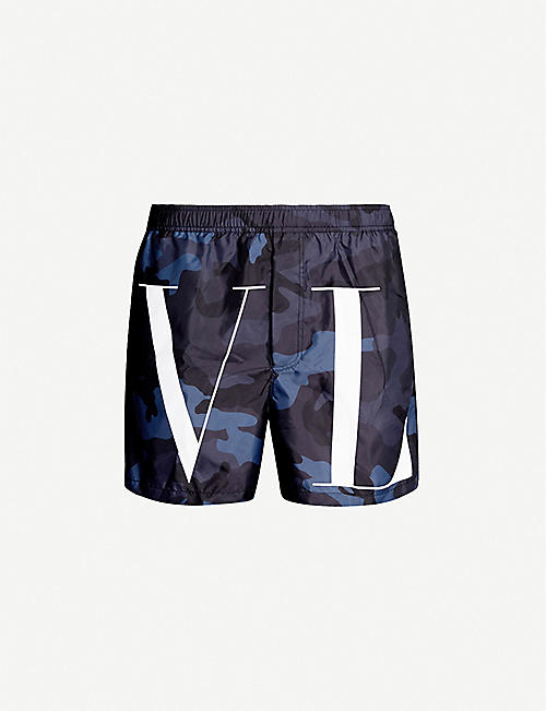 5e6354c334 VALENTINO Relaxed-fit logo and camouflage-print swim shorts
