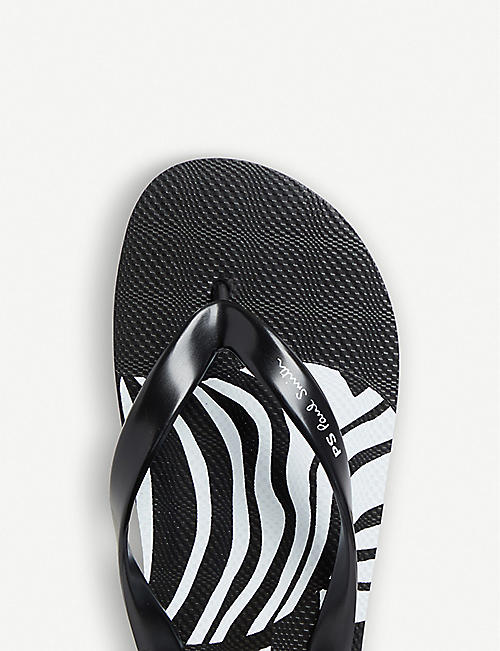 PAUL SMITH Zebra-print rubber disc flip-flops