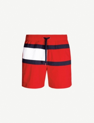 TOMMY HILFIGER Logo-print relaxed-fit swim shorts.