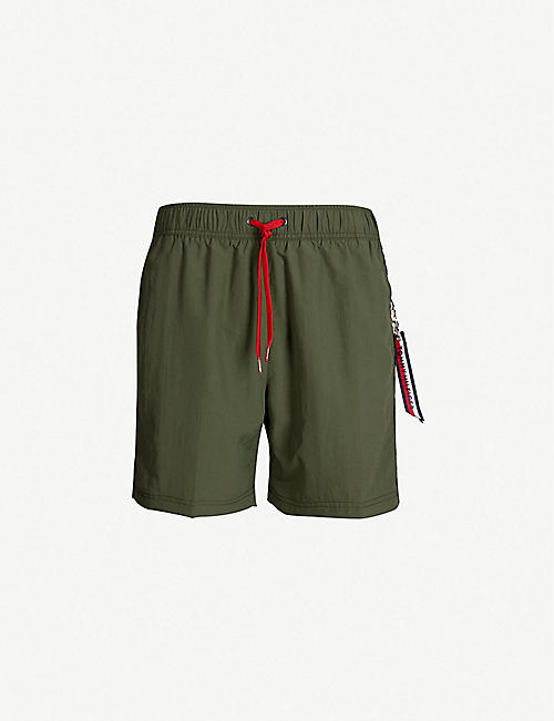 09433a1b15128 TOMMY HILFIGER Contrast drawstring relaxed-fit swim shorts
