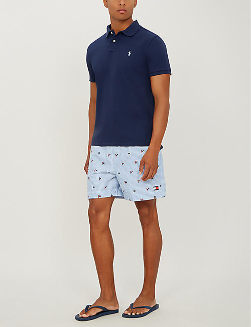 TOMMY HILFIGER Flag-print seersucker swim shorts