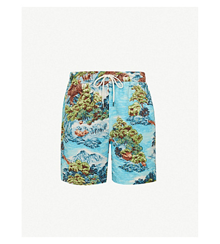 ca9c0a7125519 POLO RALPH LAUREN Landscape-print relaxed-fit swimming trunks (Green+blue
