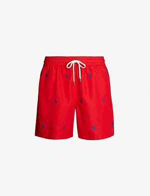 POLO RALPH LAUREN Traveller all-over logo-embroidered swim shorts