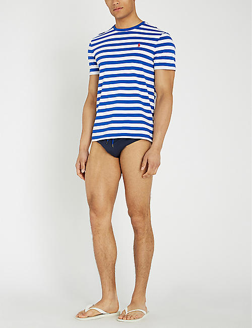 POLO RALPH LAUREN Logo-embroidery striped swim trunks