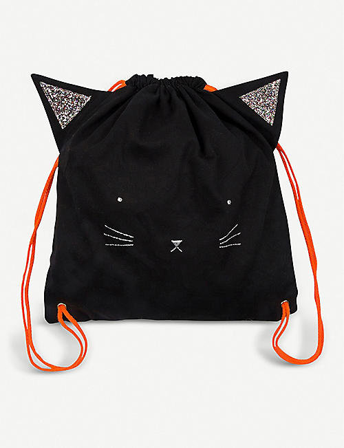 HALLOWEEN Meri Meri cat embroidered canvas backpack