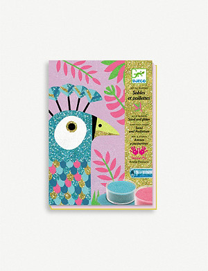 DJECO Dazzling Birds sand and glitter art set