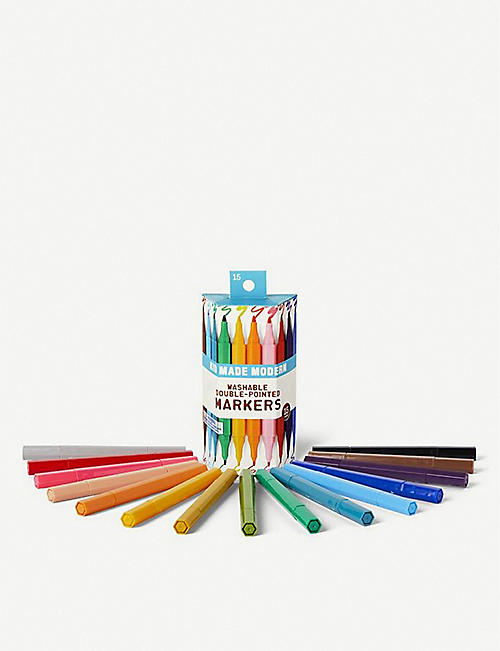 KID MADE MODERN Washable double-edged markers pack of 15