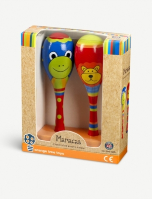 ORANGE TREE TOYS Lion & frog wooden maraca set
