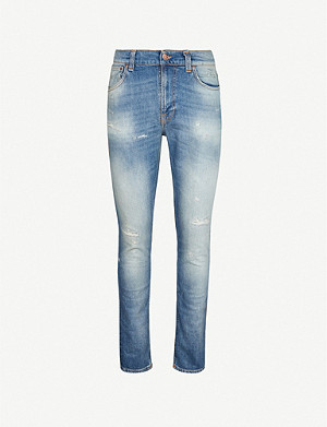 NUDIE JEANS Lean Dean ripped slim-fit tapered jeans