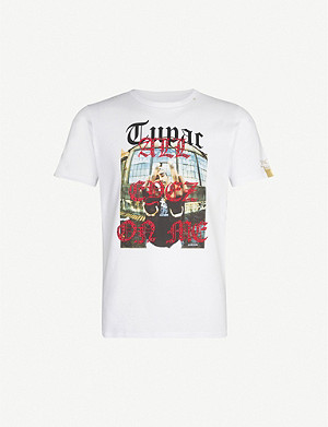 REPLAY All Eyez On Me-print cotton-jersey T-shirt