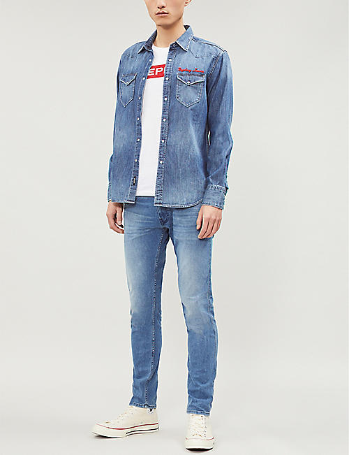 REPLAY Logo-embroidered slim-fit denim shirt