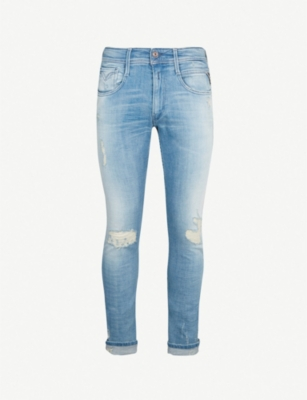 REPLAY Anbass ripped stretch-denim jeans