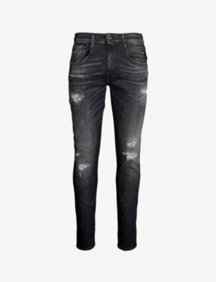 REPLAY Anbass ripped slim-fit straight jeans