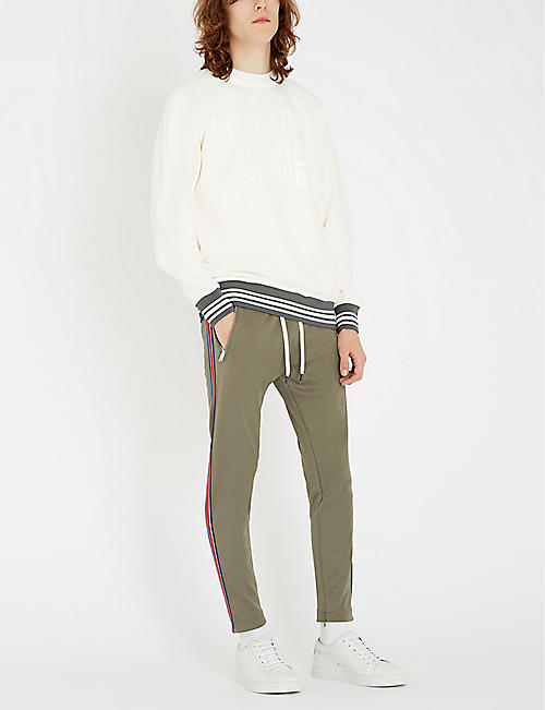 REPLAY Side stripe stretch-jersey jogging bottoms