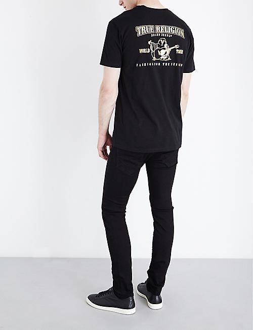 7e2f43bc3 TRUE RELIGION Metallic logo-print cotton-jersey T-shirt