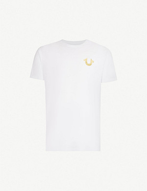 TRUE RELIGION Metallic logo-print cotton-jersey T-shirt