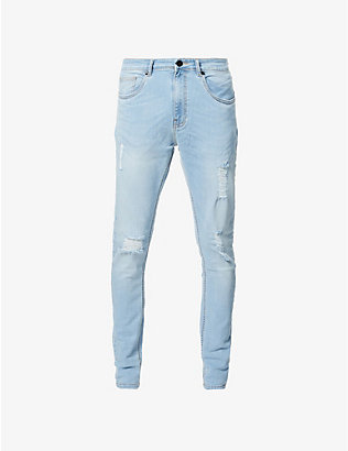 NO.91: Super Skinny Distress ripped faded jeans