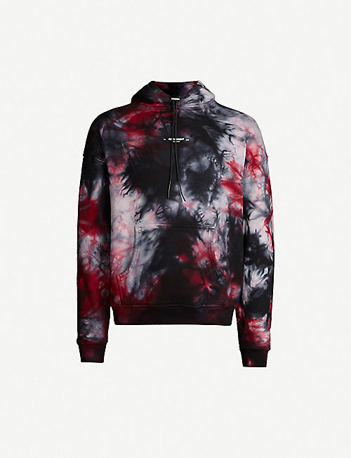 REPRESENT Marble-print cotton-jersey hoody