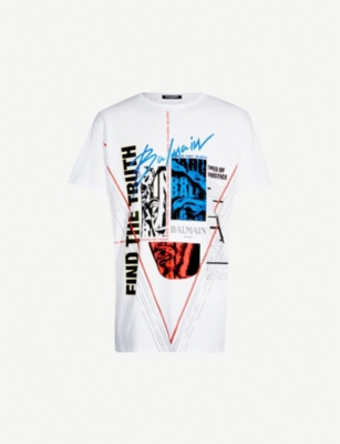 BALMAIN Truth graphic-print cotton-jersey T-shirt