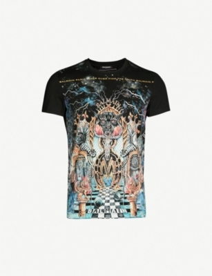 BALMAIN Art-print cotton-jersey T-shirt
