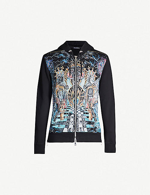 BALMAIN Graphic-print cotton hoody