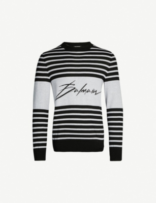 BALMAIN Striped cotton-knit jumper