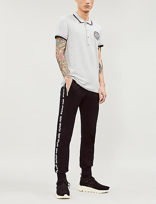 BALMAIN Logo-appliquéd stretch-jersey polo shirt