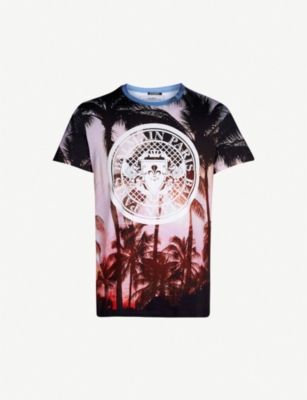 BALMAIN Palm-print cotton-jersey T-shirt