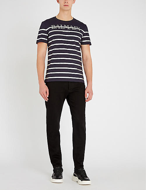 BALMAIN Metallic-striped cotton-jersey T-shirt