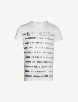 BALMAIN Sequin-embellished cotton-jersey T-shirt