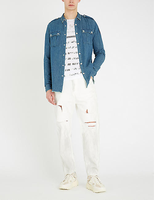 BALMAIN Button-embellished regular-fit denim shirt