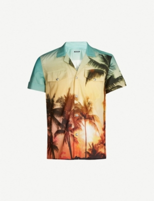 BALMAIN Palm-print cotton shirt