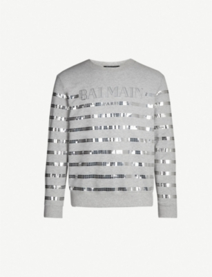 BALMAIN Sequin-embellished cotton-blend sweatshirt