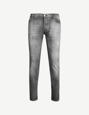 BALMAIN Faded slim-fit skinny jeans