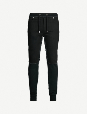 BALMAIN Slim-fit denim and jersey jogging bottoms