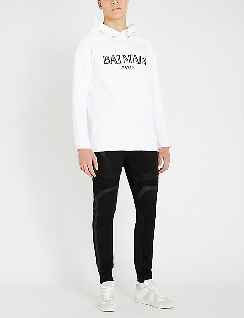 BALMAIN Ribbed-panel cotton-jersey biker jogging bottoms