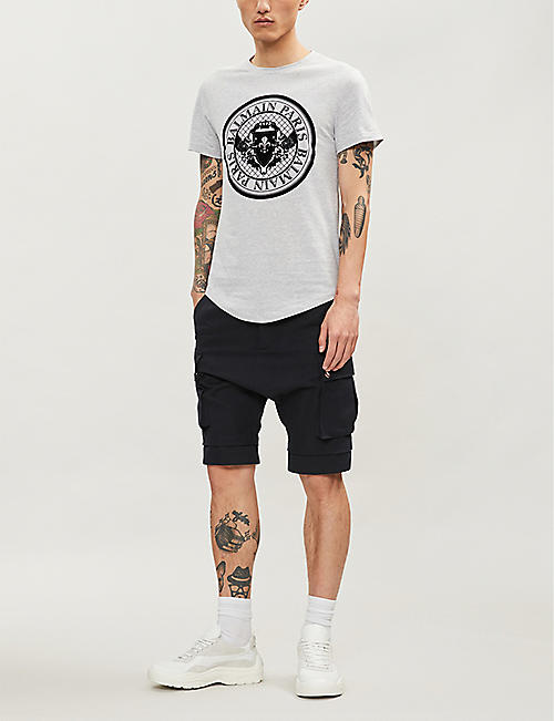 BALMAIN Dropped-crotch cotton and linen-blend shorts